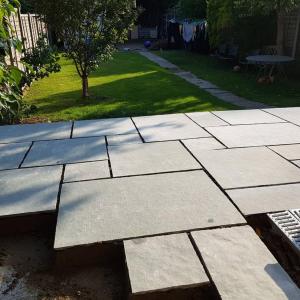 progress of patio lay in Aldershot